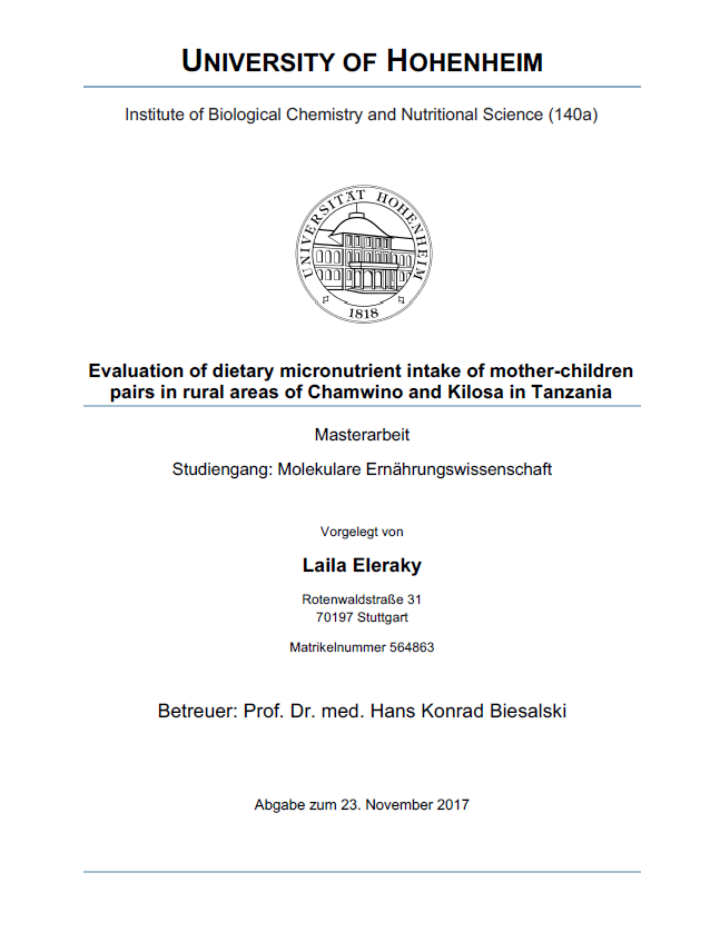 Elraky, L. (2017): Evaluation of dietary micronutrient intake of mother-children